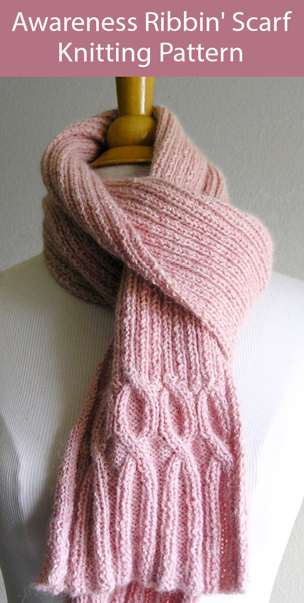 Knitting Pattern for Breast Cancer Ribbin' Scarf