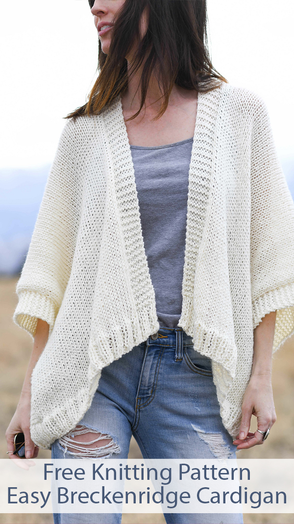 Free Knitting Pattern for Easy Breckenridge Topper Cardigan