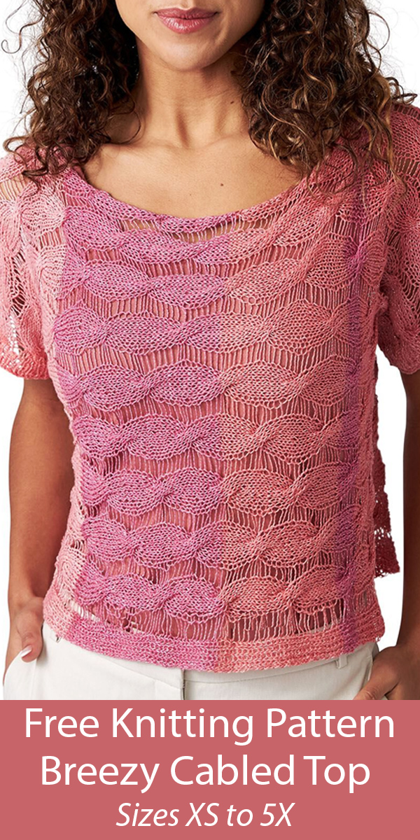 Free Knitting Pattern for Breezy Cabled Top