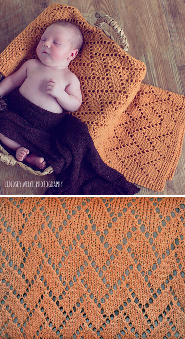Free Knitting Pattern for 6 Row Repeat Brick Lane Baby Blanket