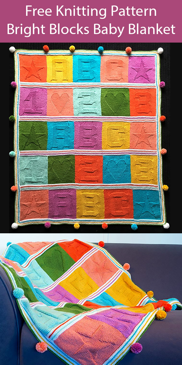 Free Knitting Pattern for Bright Blocks Baby Blanket.