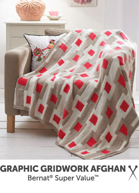 Graphic Gridwork Afghan knit in Bernat Super Value