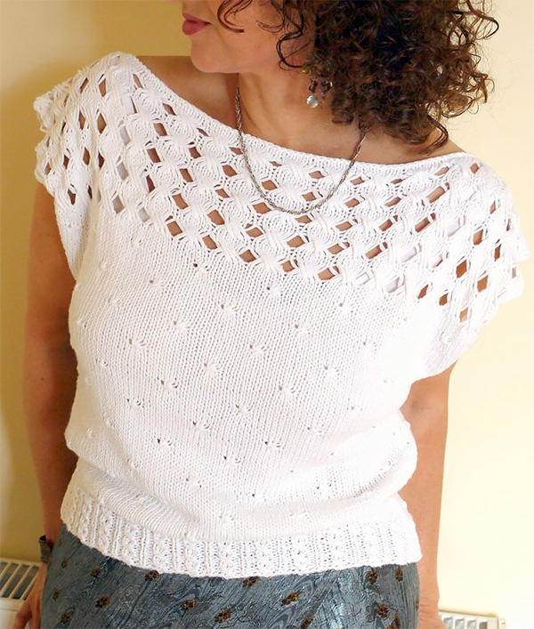 Knitting Pattern for Brigid's Cross Top