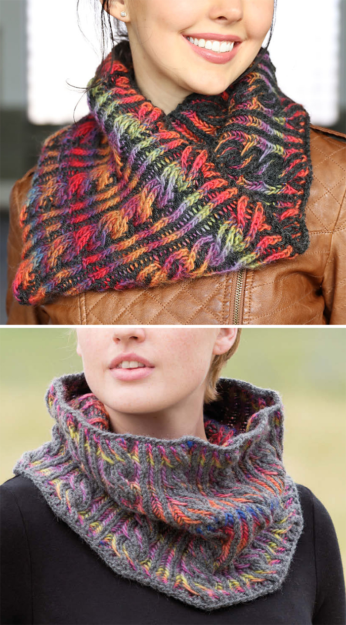 Free Knitting Pattern for Brioche Cable Cowl