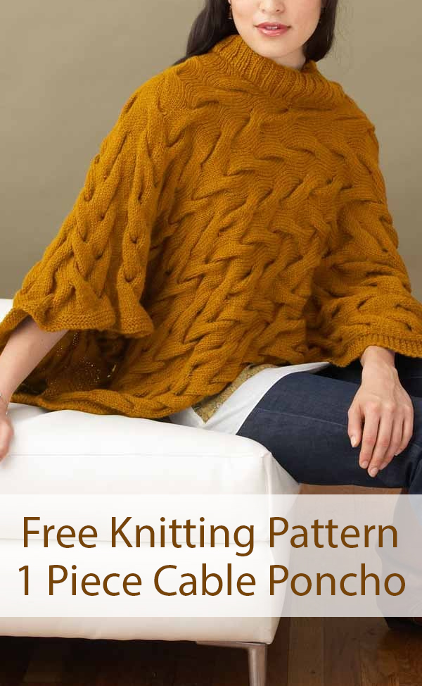 Free Knitting Pattern for 1 Piece Broken Cables Poncho