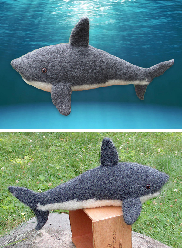 Free Knitting Pattern for Great White Shark