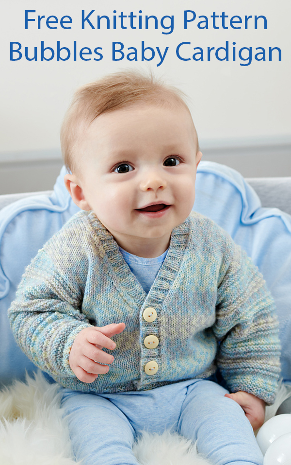 Free Knitting Pattern for Bubbles Baby Cardigan