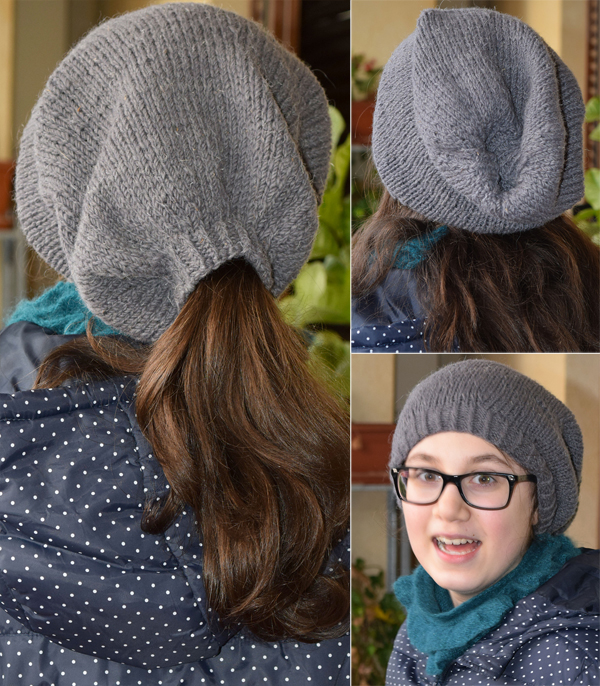 Free Knitting Pattern for Slouchy Ponytail Hat