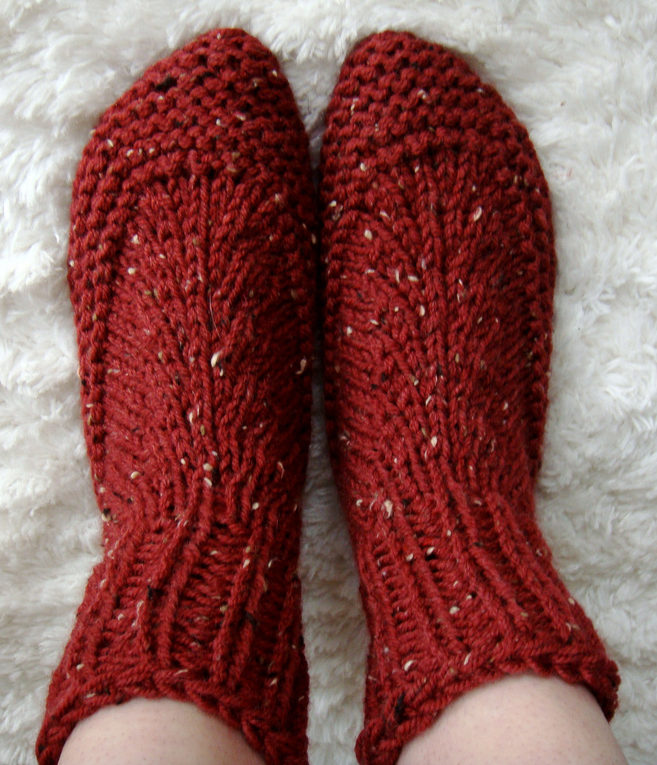 Free Knitting Pattern for Bulky Yarn Bootie Slipper