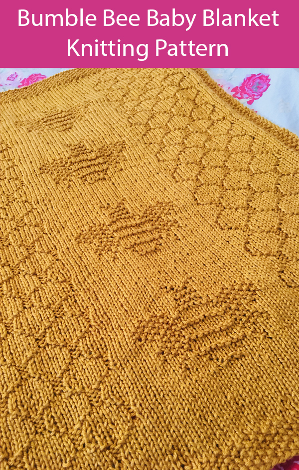 Knitting Pattern for Bumble Bee Baby Blanket or throw