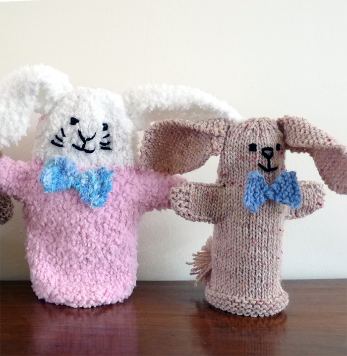 Free Knitting Pattern for Bunny Hand Puppet
