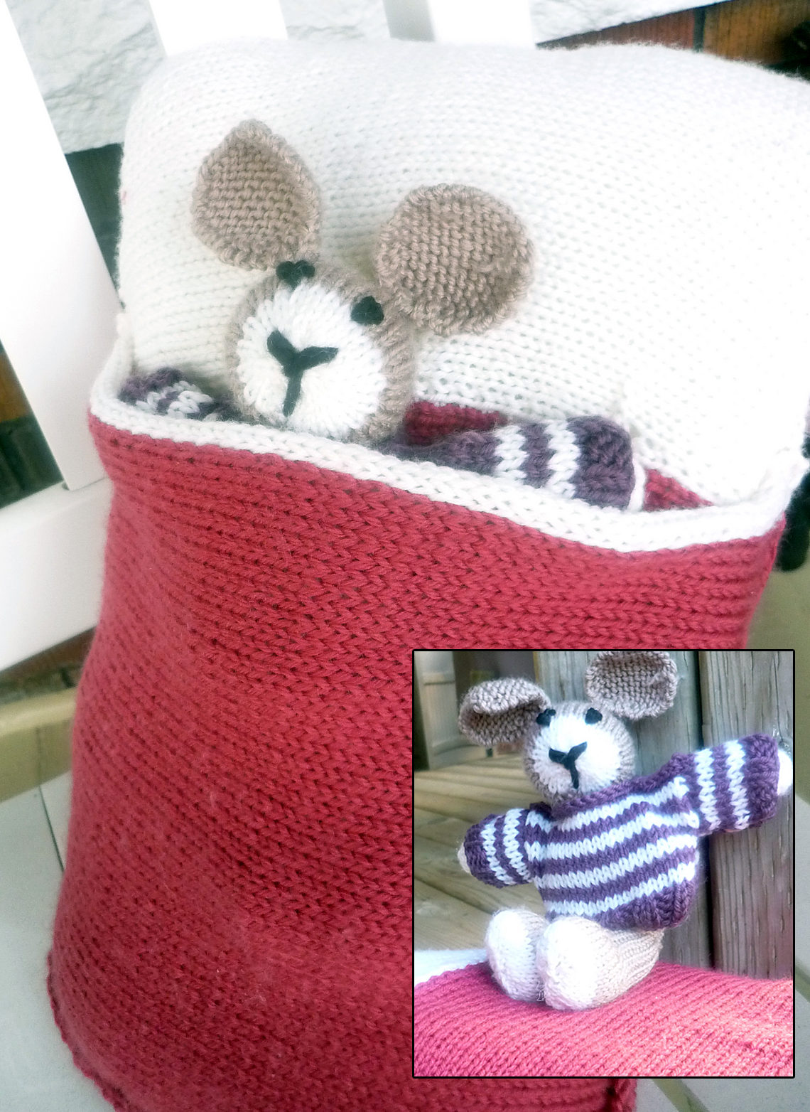 Free Knitting Pattern of Bunny in a Pillow