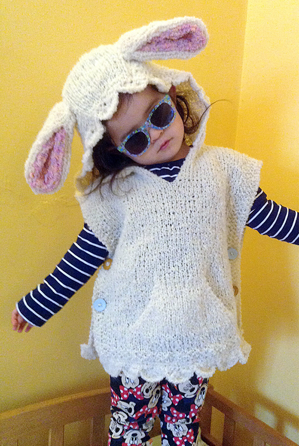 Free Knitting Pattern for Cheeky Rabbit Poncho