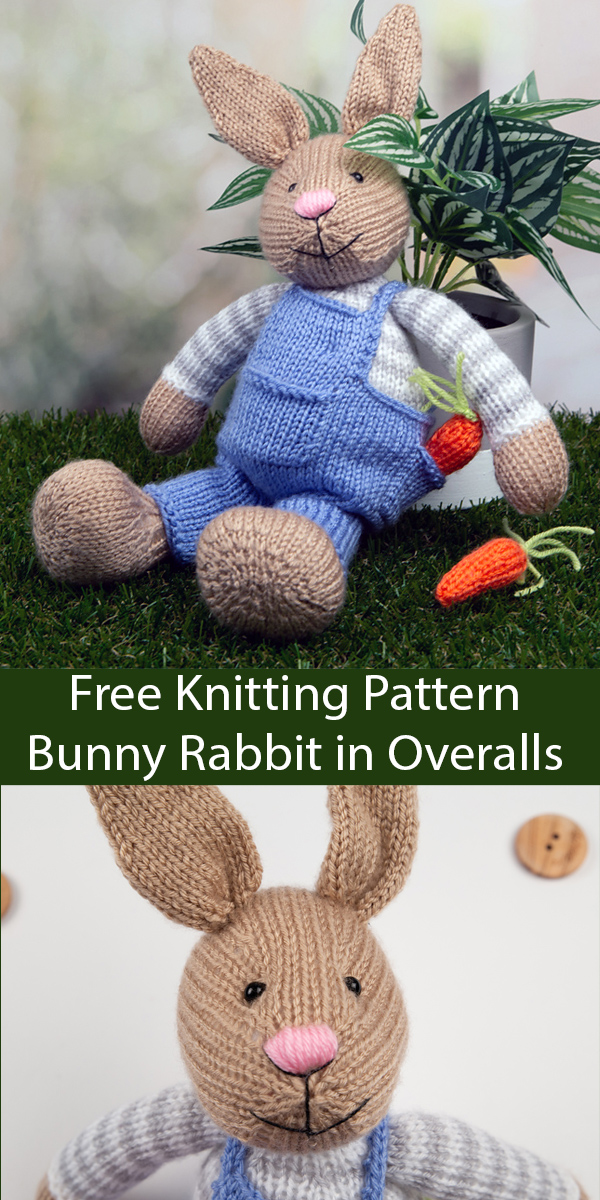 Free Knitting Pattern for Bunny Rabbit by Amanda Berry. Kit Available