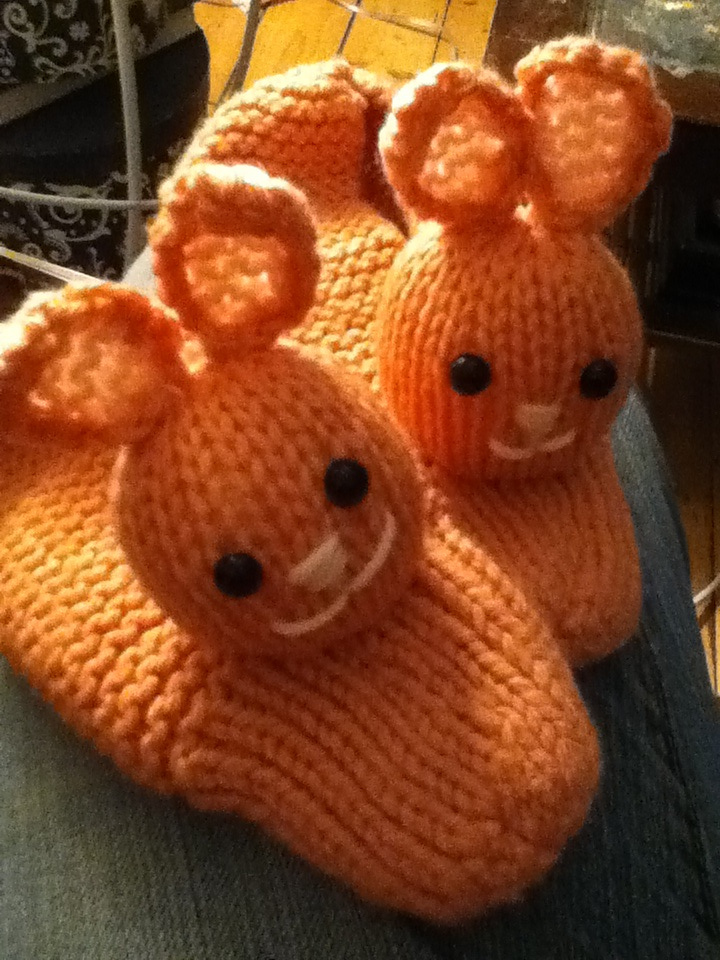 Free Knitting Pattern for Bunny Slippers