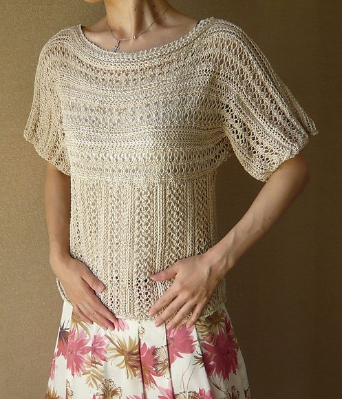 Free knitting pattern for Brillante Pullover lace tee