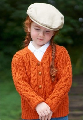Free knitting pattern for children's cardigan with cables Bus Stop Cardigan