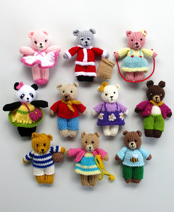Knitting Patterns for 10 Busy Little Bears