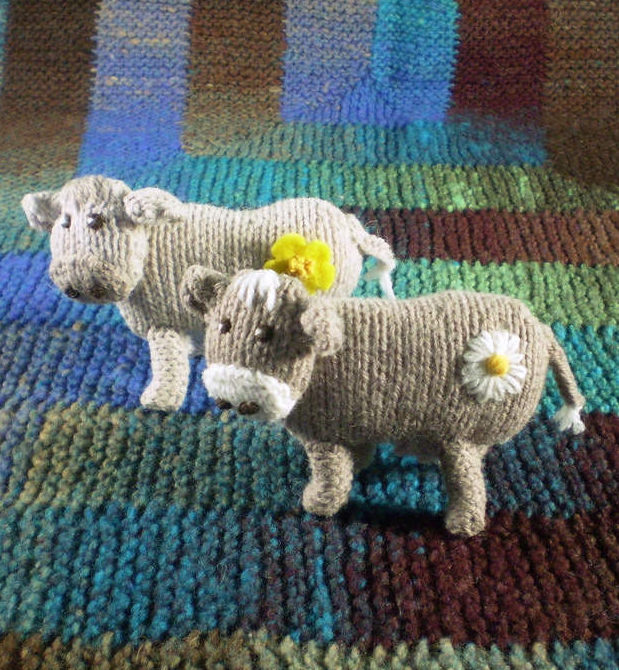 Free Knitting Pattern for Buttercup and Daisy Cow Toys