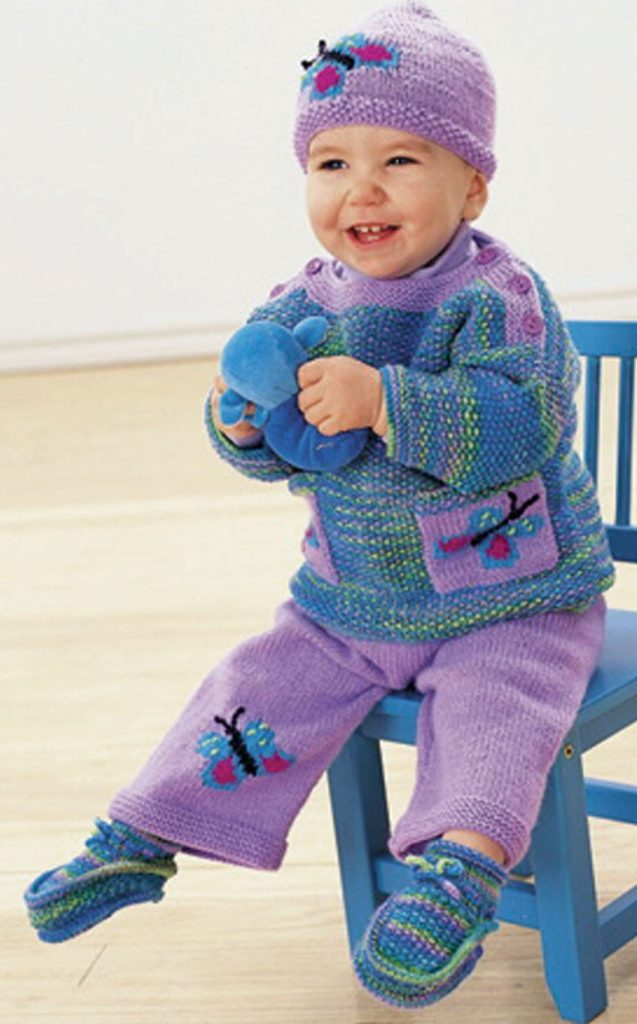 Free Knitting Pattern Butterfly Pullover, Pants, Hat, and Booties for Baby and Toddler