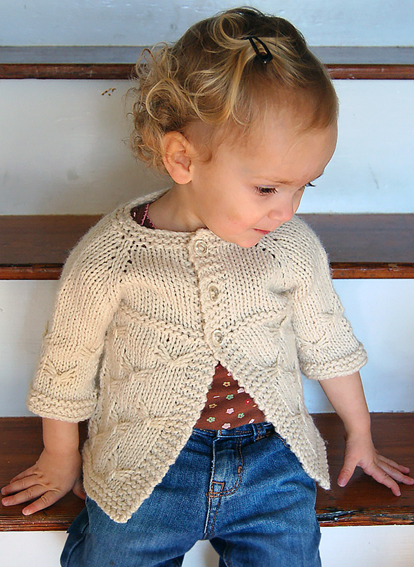Free Knitting Pattern for Butterfly Baby Cardigan