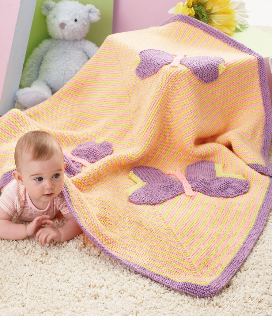 Free Knitting Pattern for Butterfly Baby Blanket