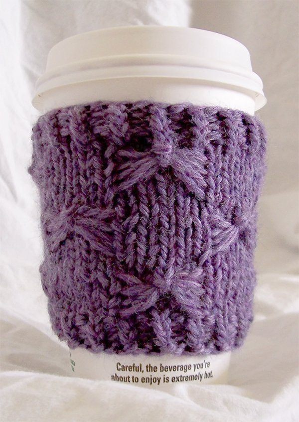 Knitting Pattern for Butterfly Stitch Cup Cozy