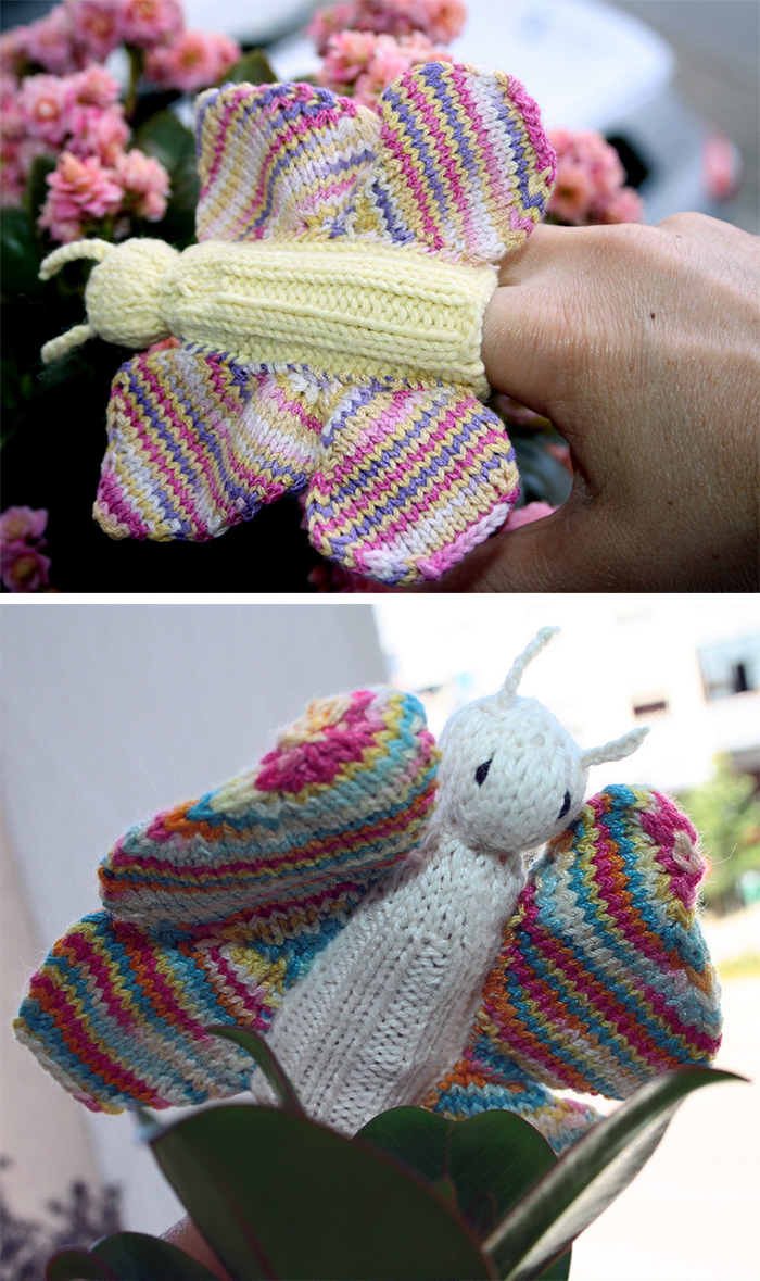 Free Knitting Pattern for Butterfly Finger Puppet