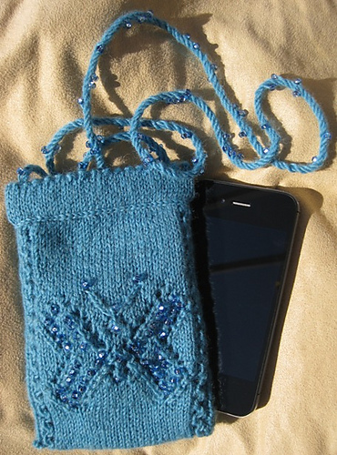Free Knitting Pattern for Butterfly Phone Purse