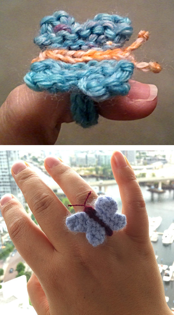 Free Knitting Pattern for Easy Butterfly Ring