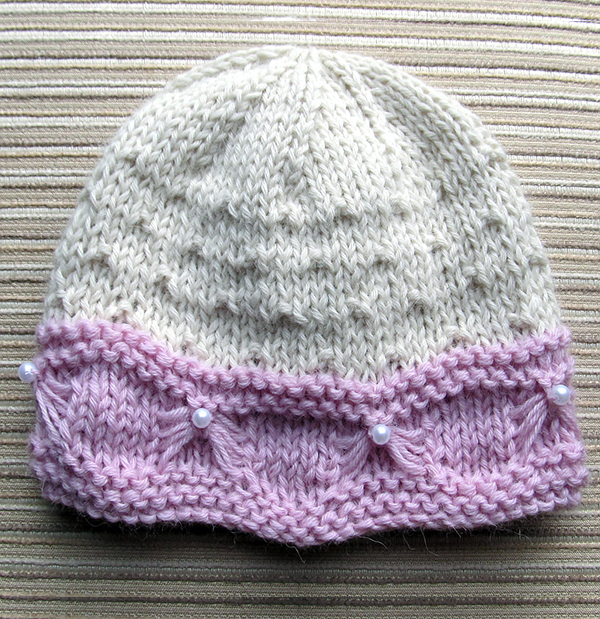 Knitting Pattern for Baby Hat with Butterfly Stitch Trim