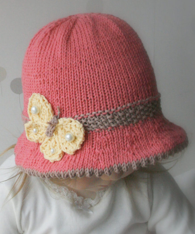 Knitting Pattern for Butterfly Bucket Baby Hat
