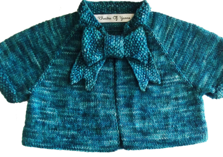Knitting Pattern for Button Bow Baby Cardigan