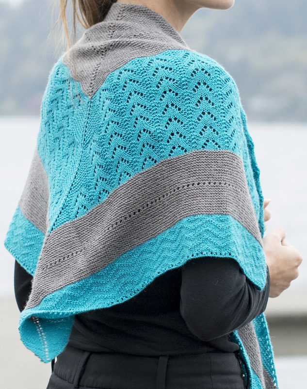 Free Knitting Pattern for By the Sea Shawl