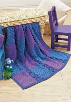 Free knitting pattern for Cable and Checks Afghan and more cable blanket knitting patterns