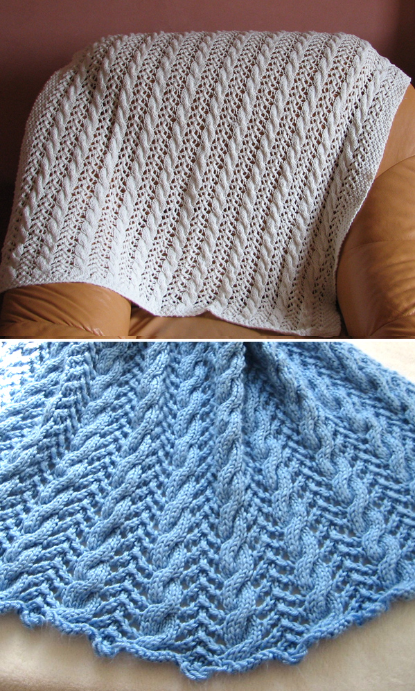 Free Knitting Pattern for 8 Row Repeat Cable and Lace Baby Blanket
