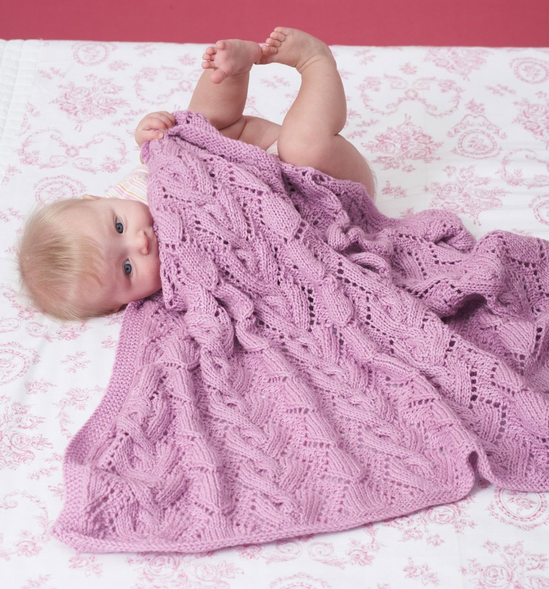 Free knitting pattern for Cable and Lace Baby Blanket and more baby blanket knitting patterns