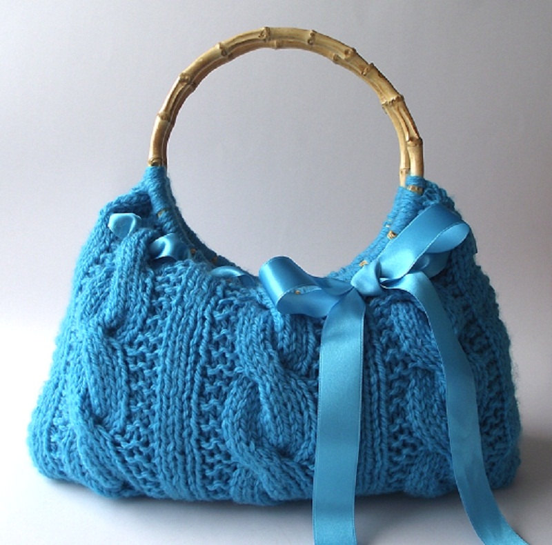 Knitting Pattern for Cable Handbag With Ribbon