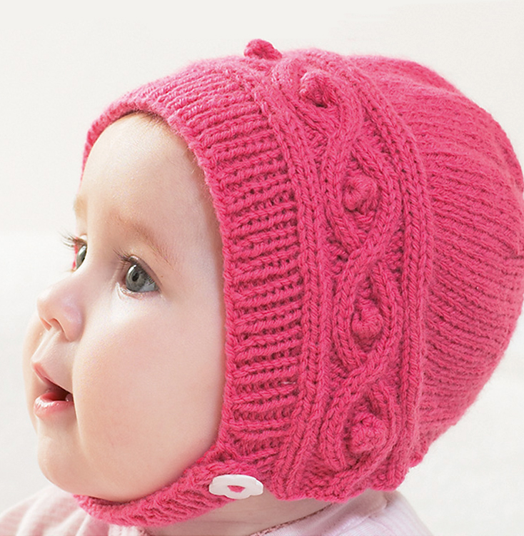 Free Knitting Pattern for Cable Baby Bonnet