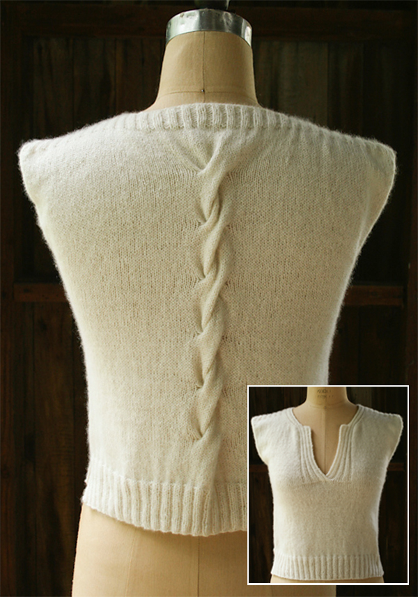 Free knitting pattern for Cable Back Shell