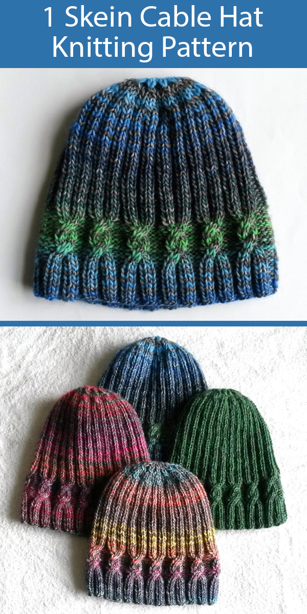 Knitting Pattern for One Skein Cable Beanie Hat