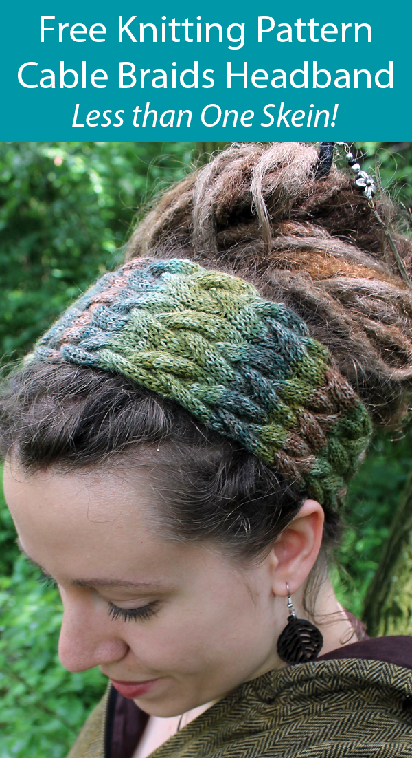 Free Knitting Pattern for Cable Braids Headband in One Skein