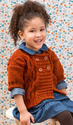 Free knitting pattern for double-breasted short-sleeved cardigan for children