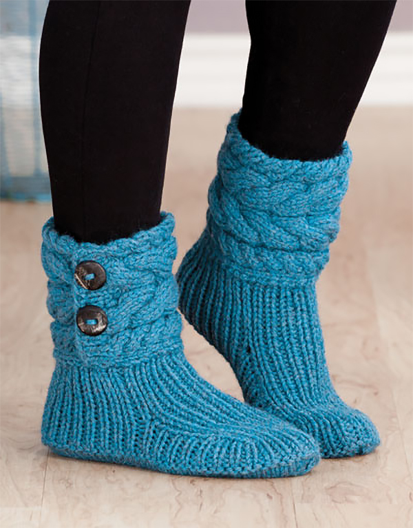 Free Knitting Pattern for Cable Cuffed Boots