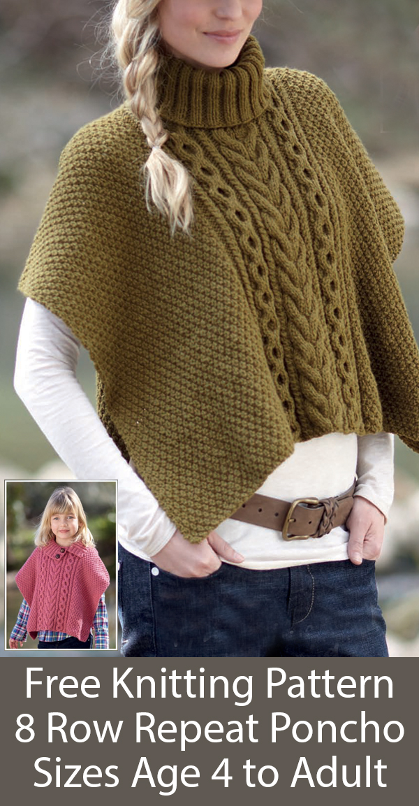 Free Knitting Pattern for 8 Row Repeat 1 Piece Cable Detail Poncho Sizes Age 4 to Adult