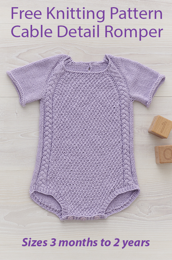 Free Knitting Pattern for Cable Detail Baby Romper