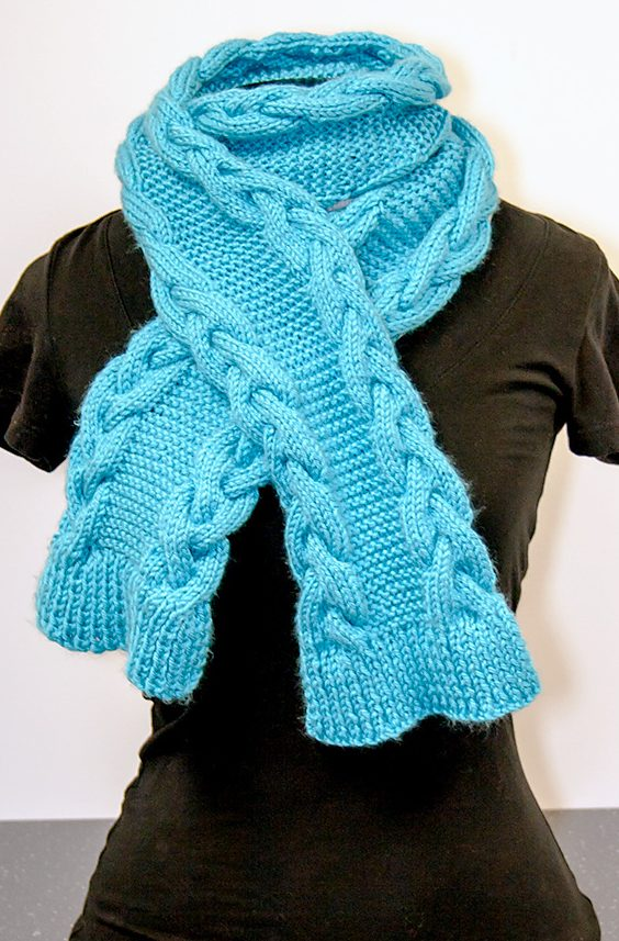 Free Knitting Pattern Cable Edge Scarf