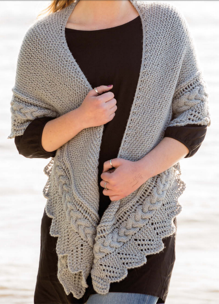 Free Knitting Pattern for Cable Edged Shawl
