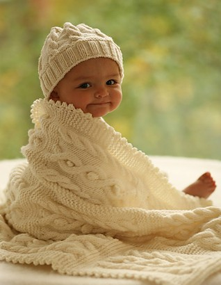 Free knitting pattern for cable baby hat and baby blanket