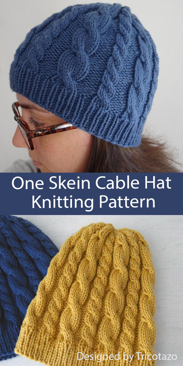 Free Hat Knitting Pattern One Skein Cable Hat